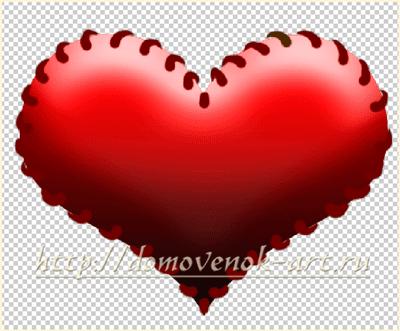 рисуем стежки на сердце