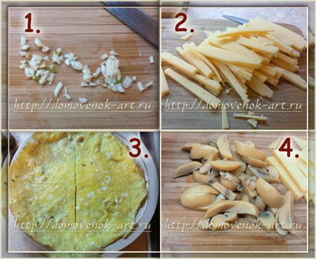 рецепт куриного рулета с сыром и грибами