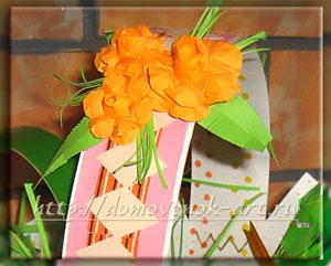 цветы на пасхальной корзинке