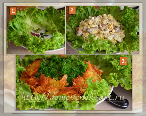 как сформировать салат гнездо глухаря