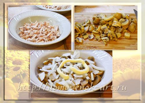 пошаговый рецепт салата подсолнух