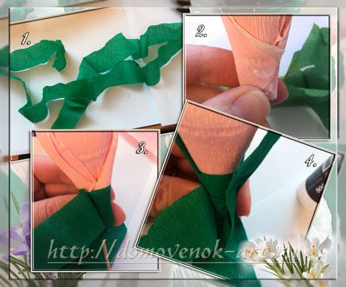 конфетные цветы крокусы из гофробумаги