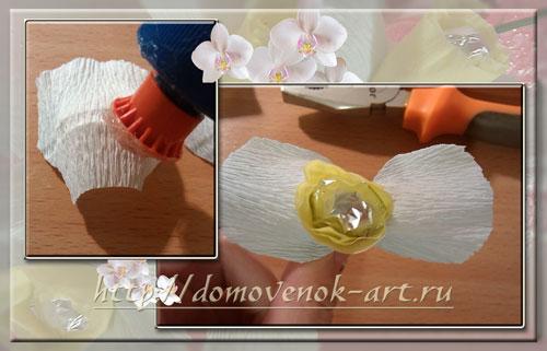 как сделать конфетную орхидею из  гофрированной бумаги