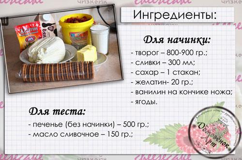 творожный чизкейк без выпечки ингредиенты