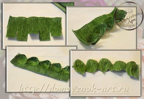 чашелистик хризантемы из гофробумаги