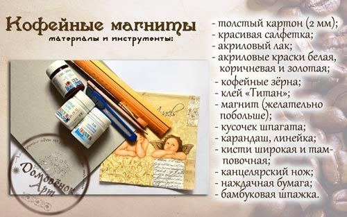 Кофейные магниты с декупажем, материалы