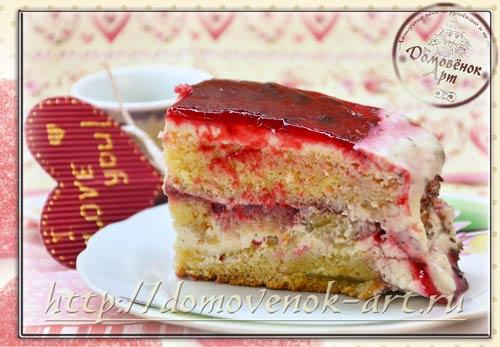 торт с клубникой и сметанным кремом в мультиварке рецепт с фото