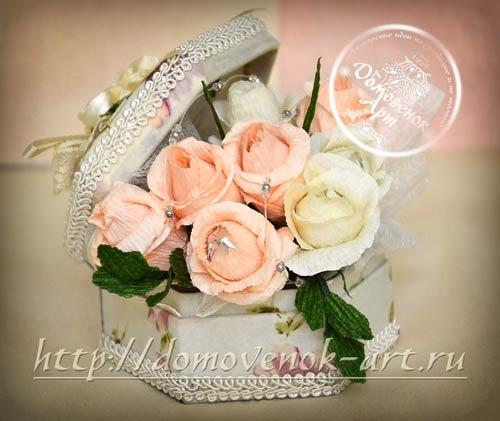 букет конфетных роз в шкатулке