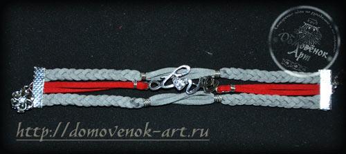 Красивый браслет из нескольких кожаных шнуров