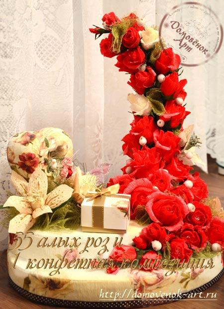 Конфетный букет с розами на пеноплексе