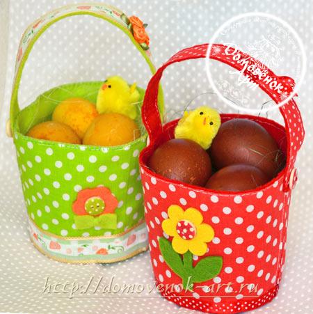 Пасхальная идея из фетра корзина для яиц