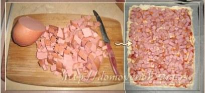 пицца с колбасой