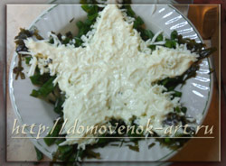 слоеный салат с морской капустой