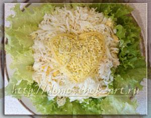 салат нежное сердце с пошаговыми фотографиями