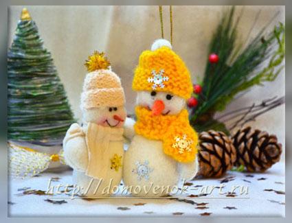 Снеговик из фетра своими руками мастер класс