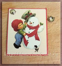 мастер-класс новогодняя открытка со снеговиком