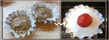 кекс с клубникой и творогом