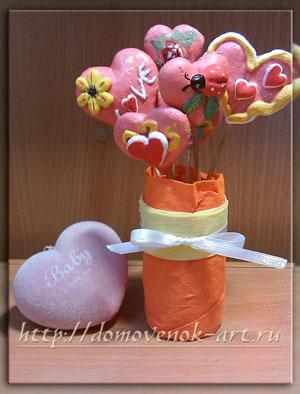 поделки ко дню Святого Валентина из соленого теста букет