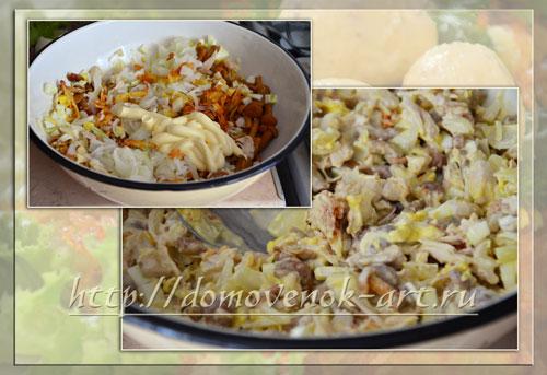 Рецепт праздничного салат Гнездо глухаря с фотографиями