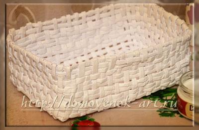 плетение прямоугольной корзины из бумаги