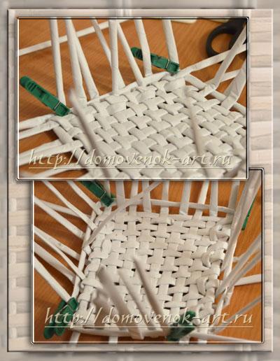 плетение стенок корзины из бумажных трубочек