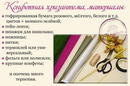 конфетные хризантемы, материалы