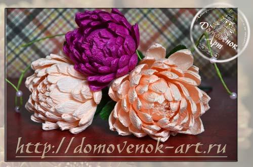 конфетные хризантему из гофрированной бумаги