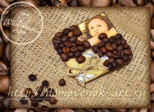 кофейный магнит с декупажем и имитацией пазла