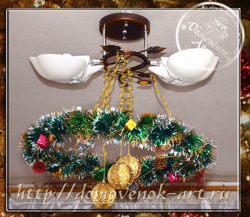 Новогоднее украшение венок для люстры