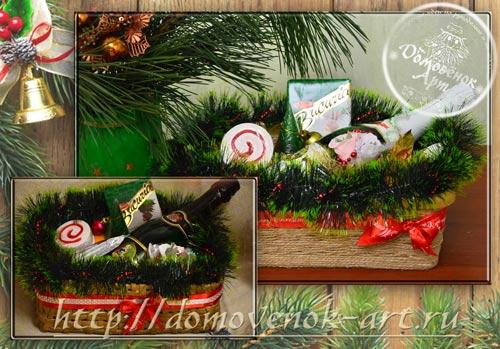 Подарки на новый год родителям, идея с корзиной и гшампанским