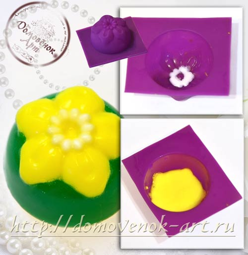 Цветочное мини-мыло с жемчужной сердцевиноц