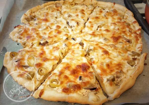 Грибная пицца. простой рецепт на бездрожжевом тесте