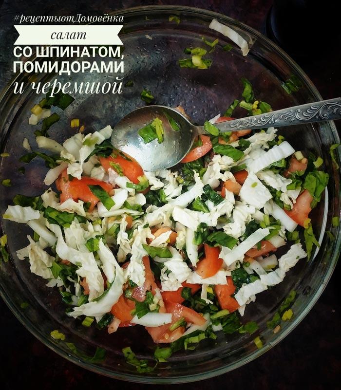 Салат со свежим шпинатом, помидорами, пекинской капустой