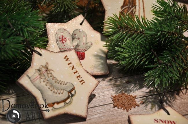 Декупаж новогодних игрушек из дерева и не только