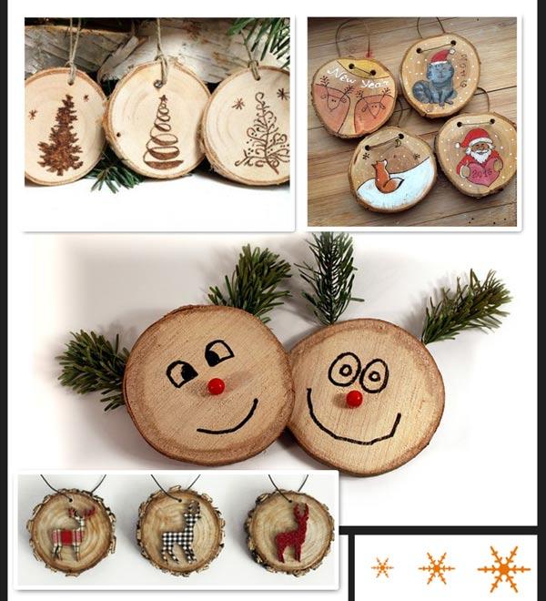 Новогодние игрушки из деревянного среза