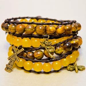 Как сделать браслет Чан Лу из натуральных камней и кожаных шнуров