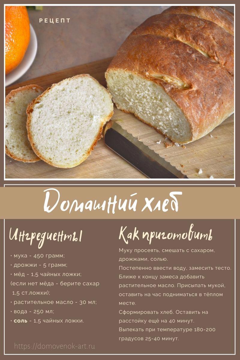Рецепт домашнего хлеба. Карточка для распечатки