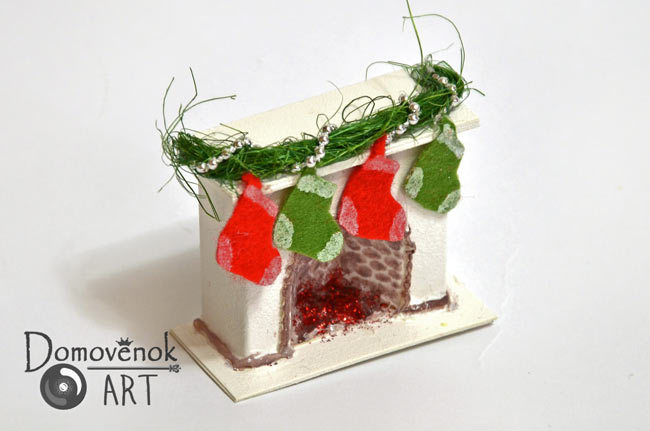 как сделать миниатюрный камин для объёмной открытки новогодней